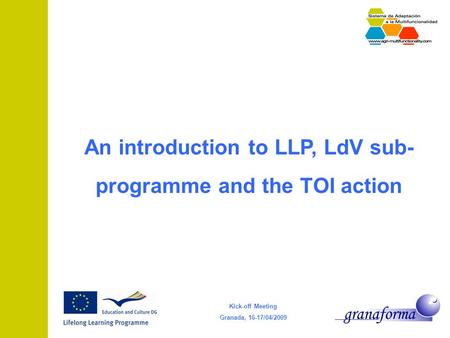 Kick-off Meeting Granada, 16-17/04/2009 An introduction to LLP, LdV sub- programme and the TOI action.