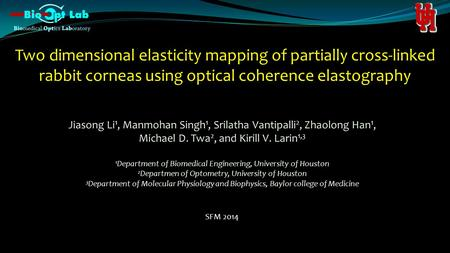 Two dimensional elasticity mapping of partially cross-linked rabbit corneas using optical coherence elastography Jiasong Li 1, Manmohan Singh 1, Srilatha.
