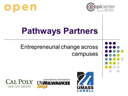 Pathways Partners Entrepreneurial change across campuses.