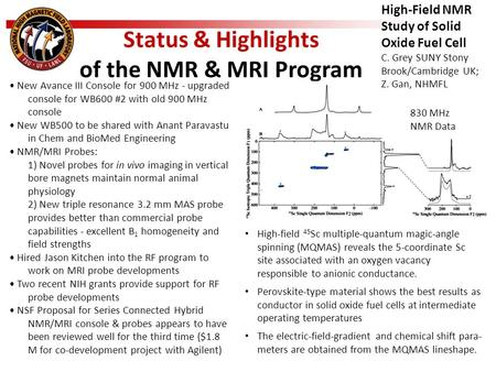 Status & Highlights of the NMR & MRI Program New Avance III Console for 900 MHz - upgraded console for WB600 #2 with old 900 MHz console New WB500 to be.