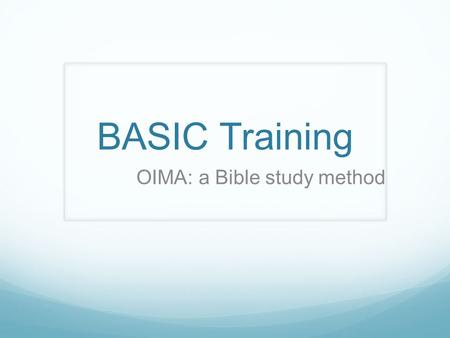 OIMA: a Bible study method