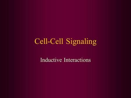 Cell-Cell Signaling Inductive Interactions. Induction: proximate interactions Close range interactions Inducer –Tissue doing the inducing –Emits a signal.