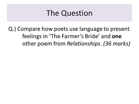 GCSE Poem analysis: The Farmer's Bride by Charlotte Mew