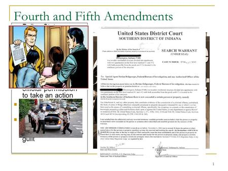 1 Fourth and Fifth Amendments Police State – country where military or law enforcement are in power and abuse power Warrant – document that gives law enforcement.