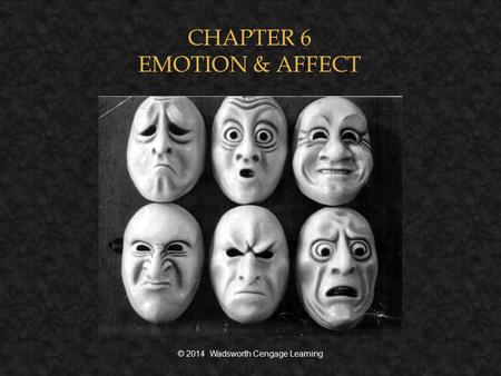 CHAPTER 6 EMOTION & AFFECT © 2014 Wadsworth Cengage Learning.