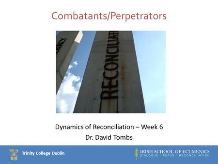 Trinity College Dublin Combatants/Perpetrators Dynamics of Reconciliation – Week 6 Dr. David Tombs.