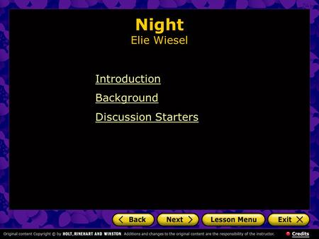 Night Elie Wiesel Introduction Background Discussion Starters.