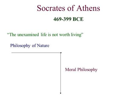 "Socrates of Athens 469-399 BCE ""The unexamined life is not worth living"" Philosophy of Nature Moral Philosophy."