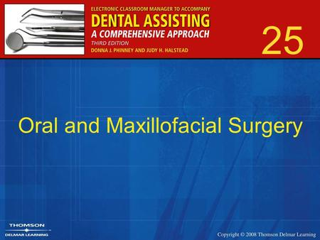 25 Oral and Maxillofacial Surgery. 2 Branch of dentistry that focuses on diagnosis and treatment of diseases, injuries, and malformations.