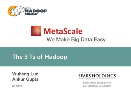 MetaScale is a subsidiary of Sears Holdings Corporation The 3 Ts of Hadoop Wuheng Luo Ankur Gupta 06.2013.