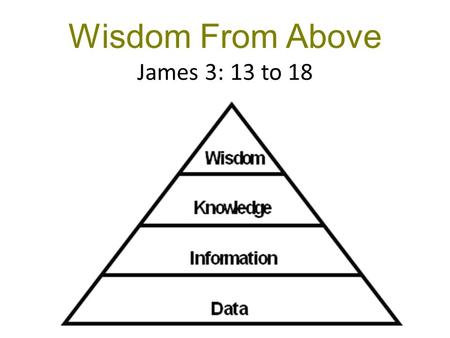 Wisdom From Above James 3: 13 to 18. By your actions… Are YOU wise & understanding? OK—prove it! Arrogance of the mind Humility & gentleness of actions.