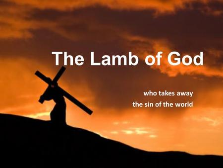 The Lamb of God who takes away the sin of the world.
