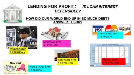 <strong>LENDING</strong> FOR PROFIT : IS LOAN INTEREST DEFENSIBLE? HOW DID OUR WORLD END UP IN SO MUCH DEBT? ANSWER: USURY MORTGAGE DEBT $ 13 TRILLION STUDENT DEBT $ 1.