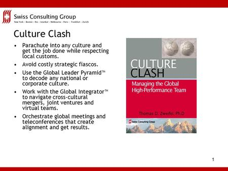 1 Culture Clash Parachute into any culture and get the job done while respecting local customs. Avoid costly strategic fiascos. Use the Global Leader.