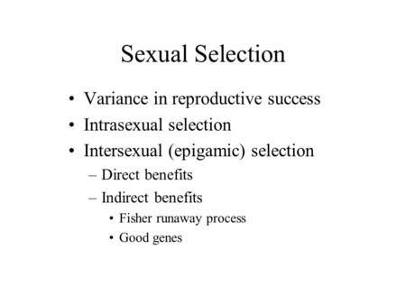 Sexual Selection Variance in reproductive success