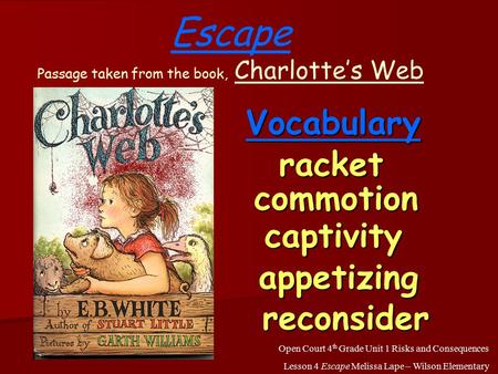 racket commotion captivity appetizing reconsider Escape Passage taken from the book, Charlotte's Web Open Court 4 th Grade Unit 1 Risks and Consequences.