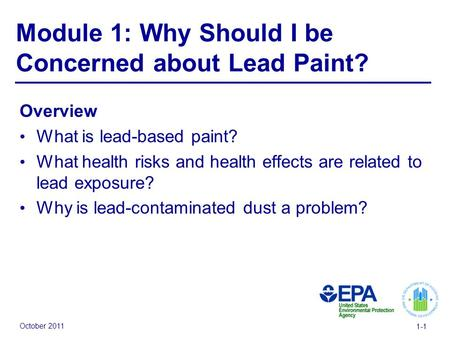 October 2011 1-1 Module 1: Why Should I be Concerned about Lead Paint? Overview What is lead-based paint? What health risks and health effects are related.