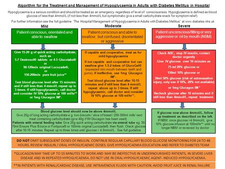 Algorithm for the Treatment and Management of Hypoglycaemia in Adults with Diabetes Mellitus in Hospital Hypoglycaemia is a serious condition and should.