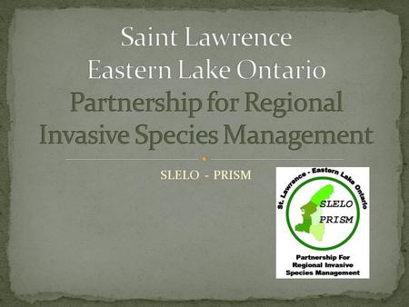 SLELO - PRISM. What is a PRISM? A regional partnership of diverse stakeholders formed to address the threat of invasive species in a cooperative, comprehensive,