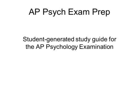 Preparing for the Exams - AP Students - College Board