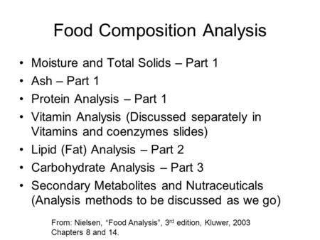 Food Composition Analysis Moisture and Total Solids – Part 1 Ash – Part 1 Protein Analysis – Part 1 Vitamin Analysis (Discussed separately in Vitamins.