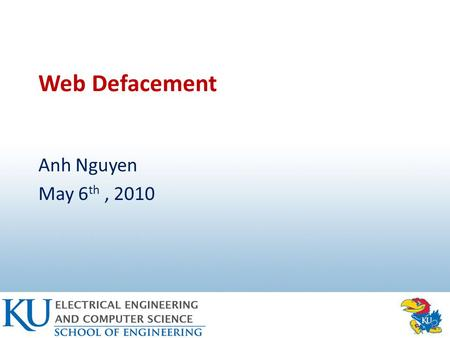 Web Defacement Anh Nguyen May 6 th, 2010. Organization Introduction How Hackers Deface Web Pages Solutions to Web Defacement Conclusions 2.