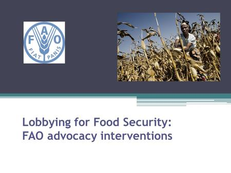Lobbying for Food Security: FAO advocacy interventions.