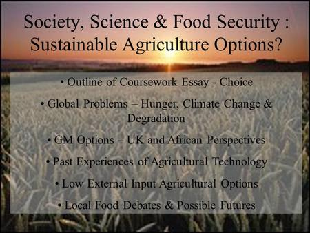 Sustainable agriculture essay topics