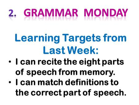 Learning Targets from Last Week: I can recite the eight parts of speech from memory. I can match definitions to the correct part of speech.