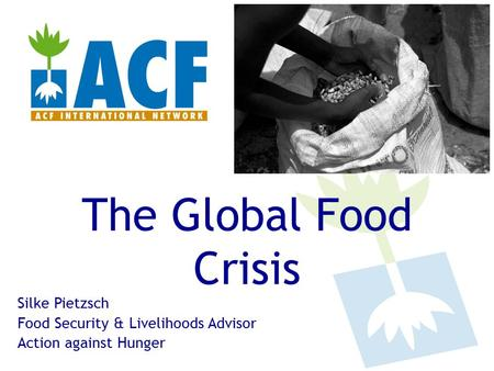 The Global Food Crisis Silke Pietzsch Food Security & Livelihoods Advisor Action against Hunger.