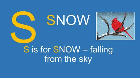 S is for SNOW – falling from the sky SNOW S. N is for NEW YEAR – flying by SNOW N.