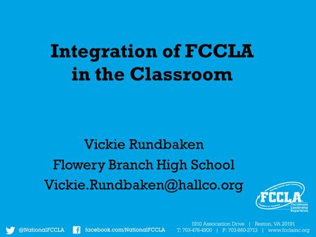 Integration of FCCLA in the Classroom