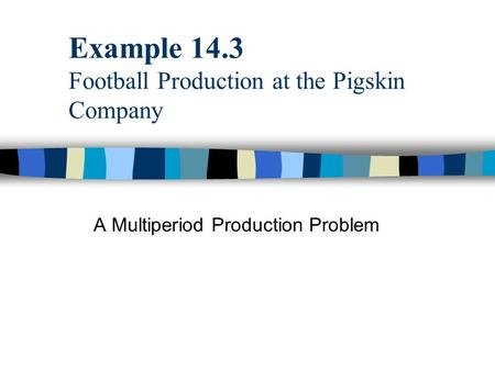 Example 14.3 Football Production at the Pigskin Company