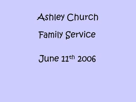 Ashley Church Family Service June 11 th 2006. Did Jesus Play Football? Does it really matter?!