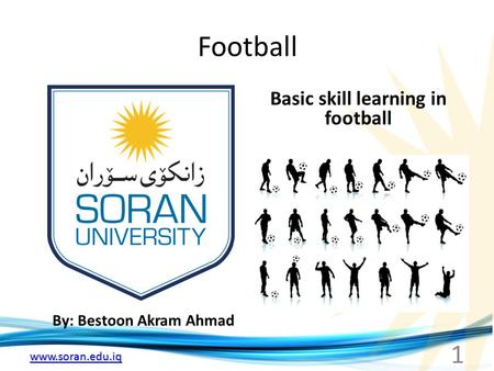 Www.soran.edu.iq Football By: Bestoon Akram Ahmad Basic skill learning in football 1.