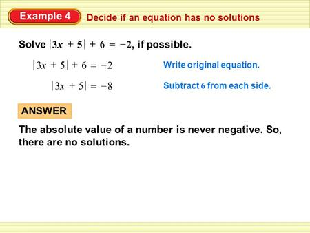 Worked example: absolute value equations with no solution
