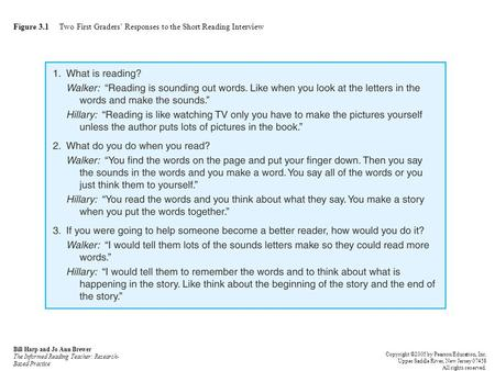 Figure 3.1 Two First Graders' Responses to the Short Reading Interview Bill Harp and Jo Ann Brewer The Informed Reading Teacher: Research- Based Practice.