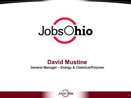 1 David Mustine General Manager – Energy & Chemical/Polymer.