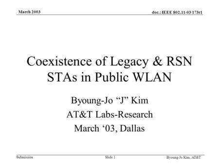 "Doc.: IEEE 802.11-03/173r1 Submission Byoung-Jo Kim, AT&T March 2003 Slide 1 Coexistence of Legacy & RSN STAs in Public WLAN Byoung-Jo ""J"" Kim AT&T Labs-Research."