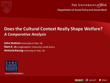 @spswspsw.york Department of Social Policy and Social Work Does the Cultural Context Really Shape Welfare? A Comparative Analysis John Hudson University.
