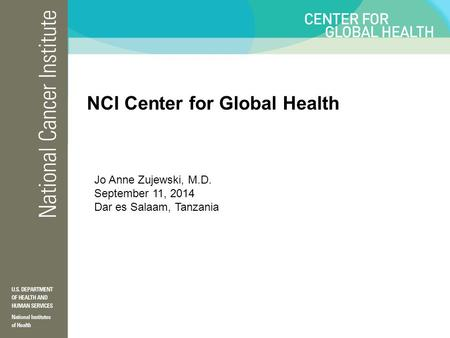 NCI Center for Global Health Jo Anne Zujewski, M.D. September 11, 2014 Dar es Salaam, Tanzania.