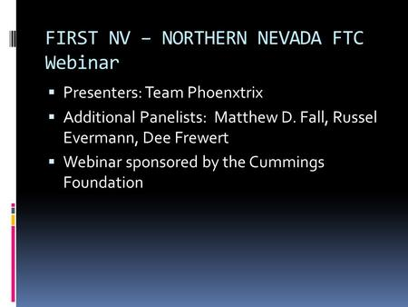 FIRST NV – NORTHERN NEVADA FTC Webinar