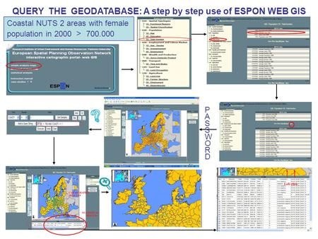 PASSWORDPASSWORD QUERY THE GEODATABASE: A step by step use of ESPON WEB GIS Coastal NUTS 2 areas with female population in 2000 > 700.000.