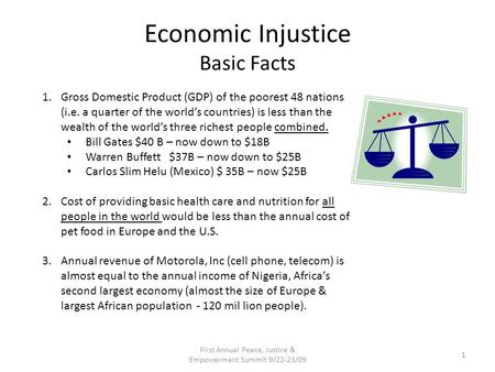 Economic Injustice Basic Facts 1.Gross Domestic Product (GDP) of the poorest 48 nations (i.e. a quarter of the world's countries) is less than the wealth.