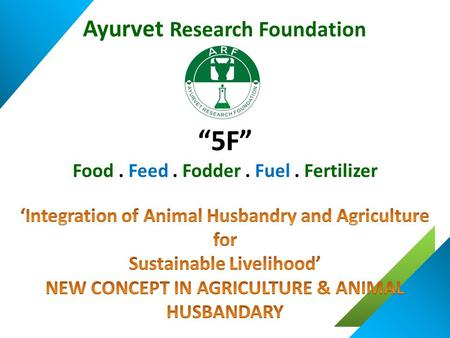 """5F"" Food. Feed. Fodder. Fuel. Fertilizer Ayurvet Research Foundation."
