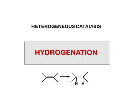 HYDROGENATION HETEROGENEOUS CATALYSIS. CATALYTIC HYDROGENATION IS COVERED IN SEVERAL PLACES IN THE TEXT, PRINCIPALLY: Ch3 Section 3.18 Hydrogenation of.