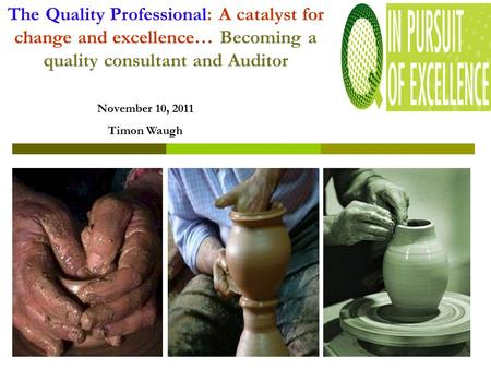 The Quality Professional: A catalyst for change and excellence… Becoming a quality consultant and Auditor November 10, 2011 Timon Waugh.