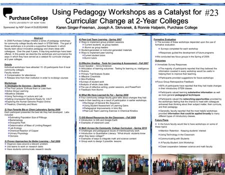 Using Pedagogy Workshops as a Catalyst for Curricular Change at 2-Year Colleges Karen Singer-Freeman, Joseph A. Skrivanek, & Ronnie Halperin, Purchase.
