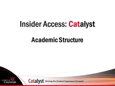 Insider Access: Catalyst Academic Structure. Today's Agenda Academic Structure NEW Term Coding Convention: CYYT NEW Term Values.