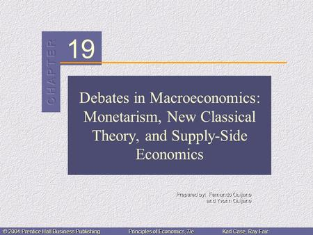 19 Prepared by: Fernando Quijano and Yvonn Quijano © 2004 Prentice Hall Business PublishingPrinciples of Economics, 7/eKarl Case, Ray Fair Debates in Macroeconomics: